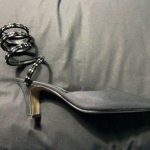 Retro Black Satin Heels with Beaded Leg Design
